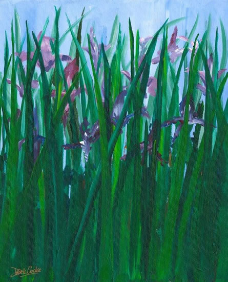 Fine Art Prints For Sale - Purple Irises - Shepperton Middlesex Artist Derek Cooke