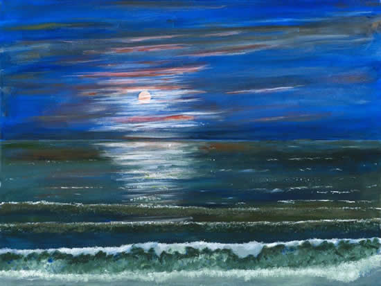 Fine Art Prints - Moonlight Sea View With Dramatic Cloud And Sky - Shepperton Artist Derek Cooke