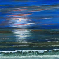 Fine Art Prints – Moonlight Seaside Coast View – Shepperton Artist Derek Cooke