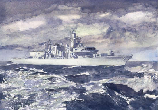 Fine Art Prints - Royal Navy Ship At Sea On Patrol - HMS Monmouth - Black Duke