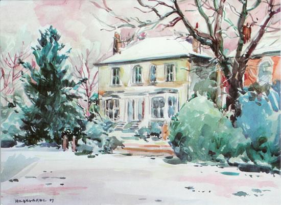 Houses On The Common Watercolour - Hildegarde Reid Thames Valley Art Society Artist