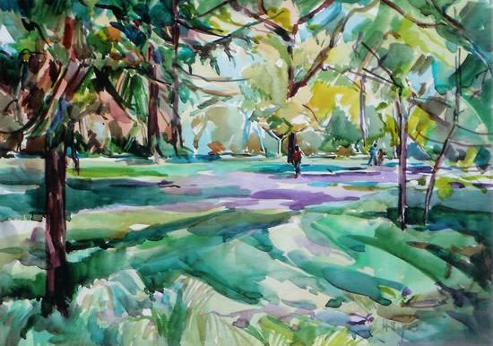 Kew Gardens Spring Woodlands - Hildegarde Reid Chelsea Art Society Artist