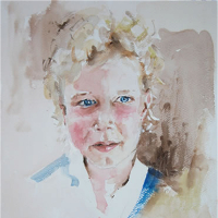 Watercolour Portrait  – Blue Eyes, Blonde Hair – Surrey Artist Kim Page