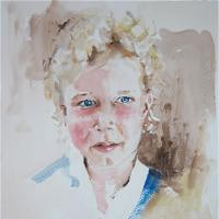 Watercolour Portrait  – Blue Eyes, Blonde Hair – Surrey Artist Kim Page