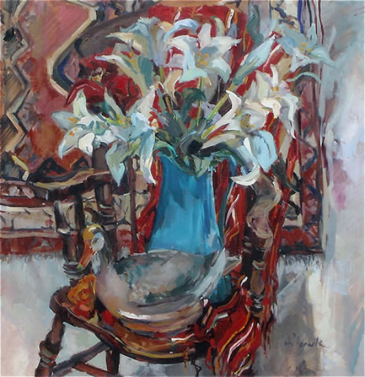 Lilies with Duck Still Life by Art Tutor and Surrey Artist Hildegarde Reid
