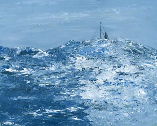 Mid Atlantic Fine Art Print - Painting of boat in high swelling seas