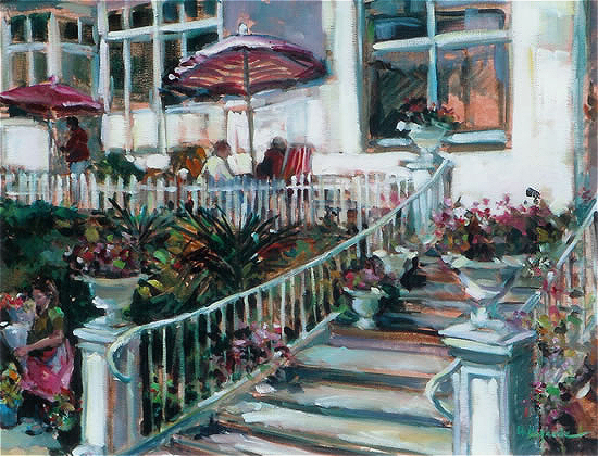 On the Terrace relaxing under sun umbrellas - Hildegarde Reid Art Tutor