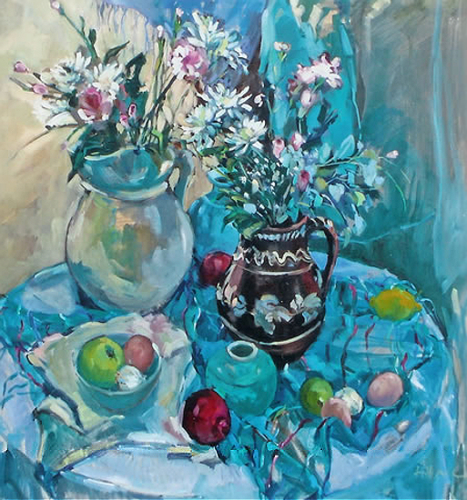 Party Flowers - Oil Painting by South African born Artist Hildegarde Reid - Surrey Art Gallery