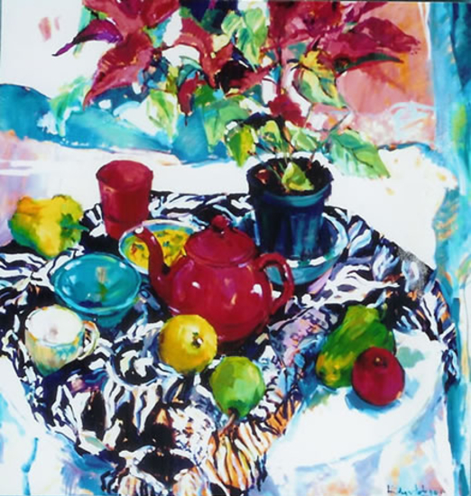 Poinsettias and Red Teapot - Art by Hildegarde Reid - Surrey Artist