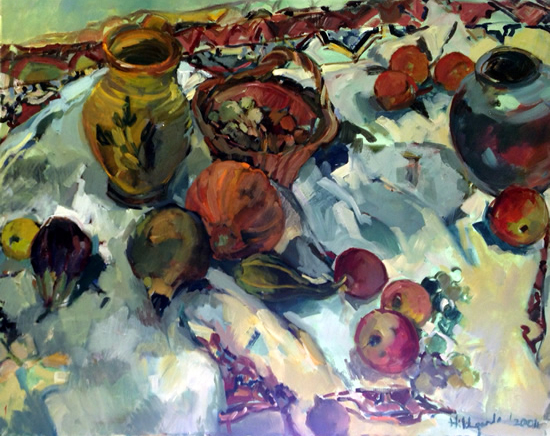 Pots and Fruit Still Life Painting - Hildegarde Reid - Molesey Artist