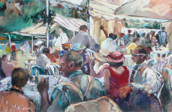 Regatta Day - Painting by Hildegarde Reid Sunbury on Thames Art Society Artist