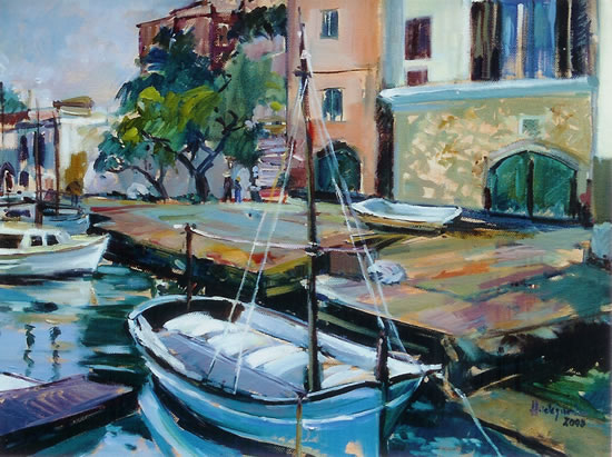 Spanish Harbour Scene - Hildegarde Reid - Painting in Oils