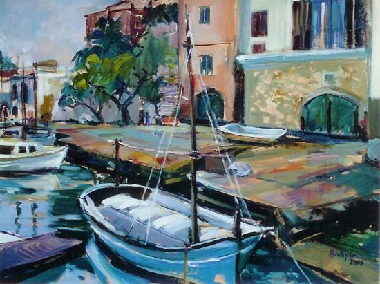 Spanish Harbour Scene - Hildegarde Reid - Painting in Oils