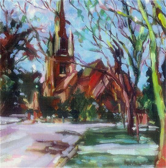St Paul's Church, East Molesey, Surrey - Oil painting by Hildegarde Reid