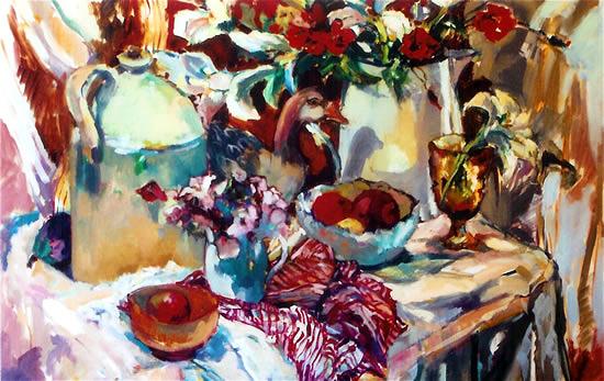 Still Life - Pottery and Plants - Hildegarde Reid Art Tutor and Surrey Artist