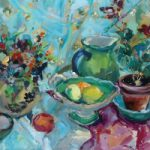 Still Life Sari Painting by Weybridge Art Society Artist and Surrey Art Tutor Hildegarde Reid