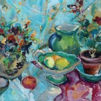 Still Life Sari Painting by Weybridge Art Society Artist and Surrey Art Tutor Hildegarde Reid