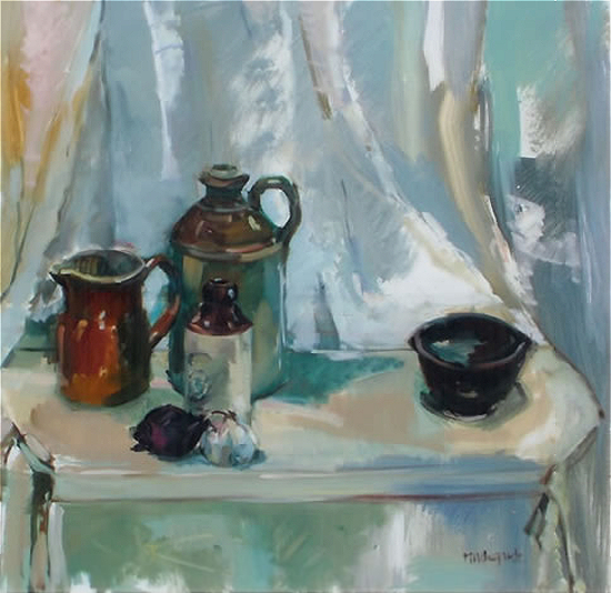 Still Life in Greys by Hildegarde Reid, Surrey Art Tutor