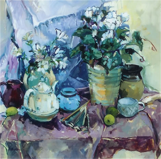Still Life with Cyclamen - Thames Ditton Artist and Surrey Art Tutor Hildegarde Reid