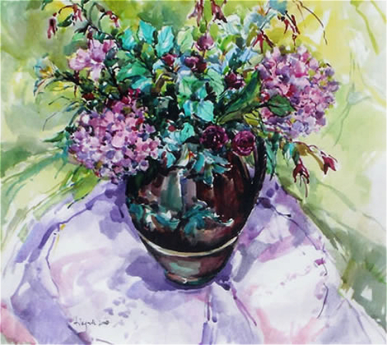 Still Life with Hydrangeas by Surrey Artist and Art Tutor Hildegarde Reid