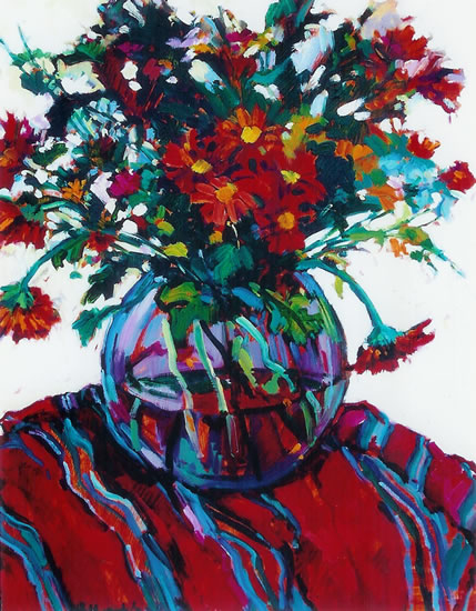 Still Life with Red Daisies by Chelsea Art Society Artist and Art Tutor Hildegarde Reid
