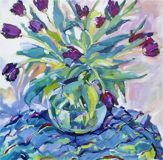 Still Life with Tulips by Surrey Artist Hildegarde Reid - Weybridge Art Society