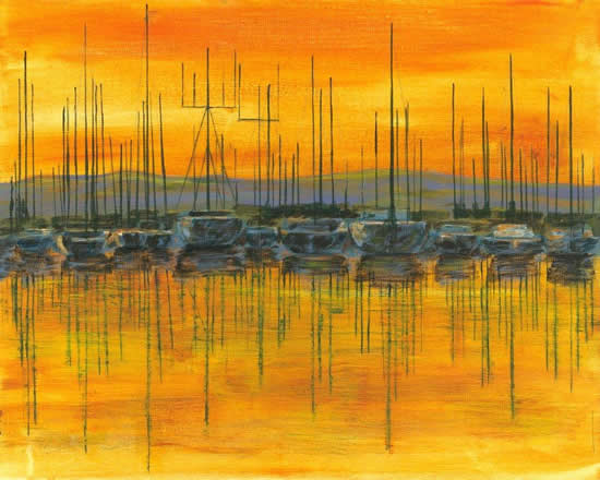 Sunset Harbour - Fine Art Prints - Shepperton Middlesex Artist Derek Cooke