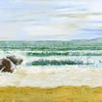 Swanage Beach Dorset – Fine Art Prints – Painting by Shepperton Artist Derek Cooke