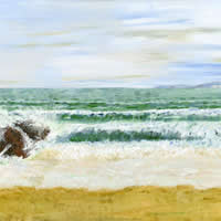 Swanage Beach Dorset – Fine Art Prints – Painting by Shepperton Artist Derek Cooke