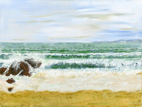 Swanage Beach Dorset - Fine Art Prints - Painting by Shepperton Artist Derek Cooke
