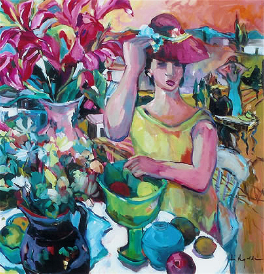 Tuscan Summer - Chic Lady - Painting in Oil - Hildegarde Reid - Molesey Art Society Artist and Surrey Art Tutor