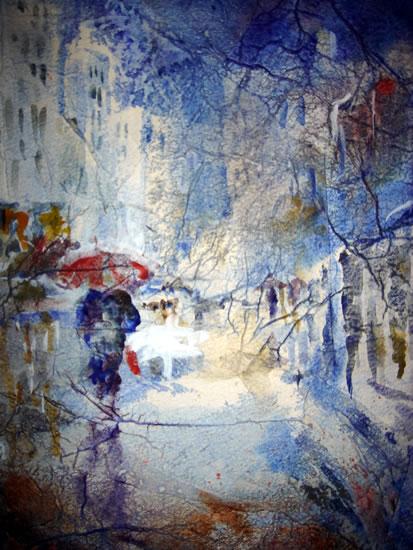Art Gallery - Walking in the rain - Town street scene