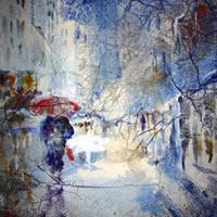 Art Gallery – Walking in the rain – Town street scene