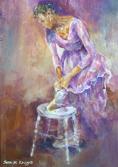 Ballet Art Gallery - Ballerina Tying Ribbons Of Dance Shoes