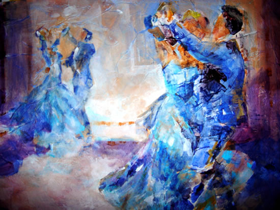 Ballroom Dancing Art Gallery - Painting of partners swirling - Dancers waltzing