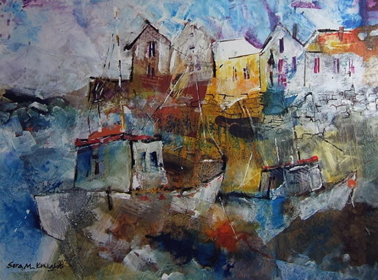 Boats in Harbour - Coast Art Gallery - Silver Stern