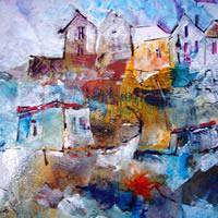 Boats in Harbour of Village – Coast Art Gallery – Silver Stern