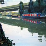 Canal Barges and Road Bridge – Wey Navigation Canal, Surrey – Doug Myers Art Gallery