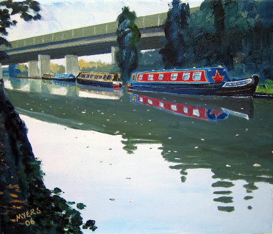 Canal Barges and Road Bridge - Wey Navigation Canal, Surrey - Doug Myers Art Gallery