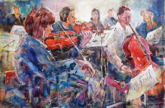Classical Music Art Gallery Orchestra String Section - Painting and Prints Available