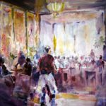 Farnham Art Society Gallery – Cafe Painting – Surrey Artist Sera Knight