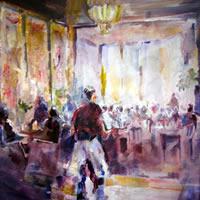 Farnham Art Society Gallery – Cafe Painting – Surrey Artist Sera Knight
