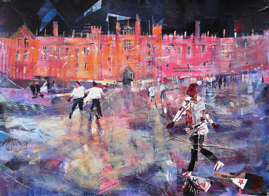 Hampton Court Palace Ice Skating Painting Christmas Art Gallery