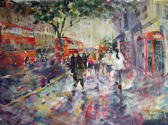 Red London Buses and Phone Boxes - Artist Sera Knight - Surrey Art Gallery