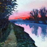 Sunset – Wey Navigation Canal, Surrey – Landscape Artist Doug Myers – Surrey Art Gallery