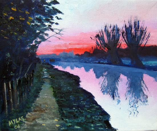 Sunset - Wey Navigation Canal, Surrey - Landscape Artist Doug Myers - Surrey Art Gallery