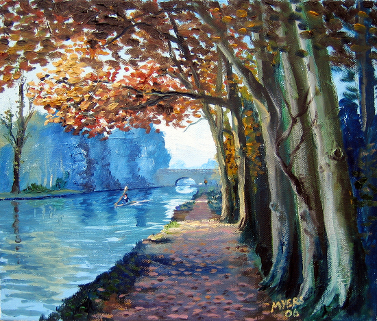 Tree-Lined Wey Navigation Canal - Surrey - Doug Myers - Surrey Artist