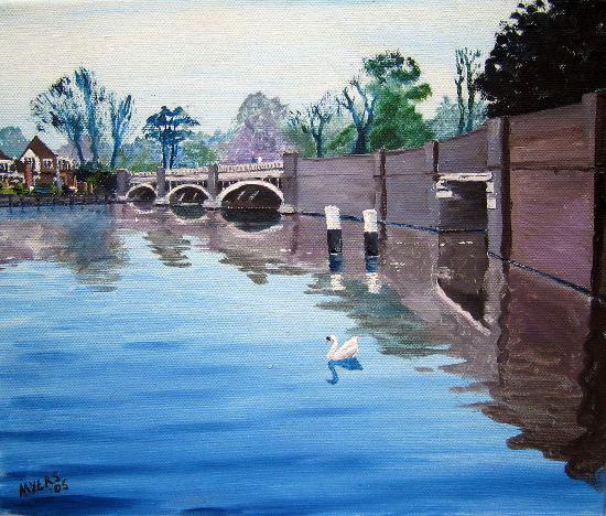 Old Bridge in Weybridge - Wey Navigation Canal Art Gallery