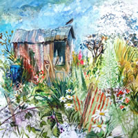 Allotment painting by artist Ruth Lewis