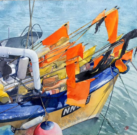 Fishing boat painting by Artist Richard Cave